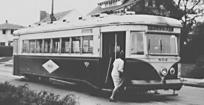 1. The Broadway streetcar in Portland, 1947.