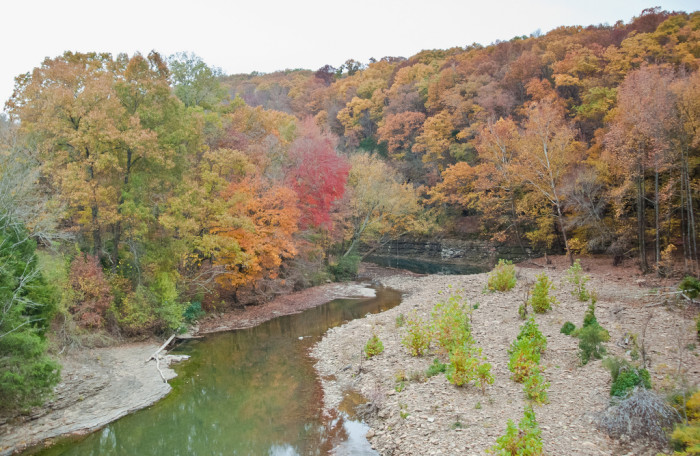 7.Clear Creek, Anywhere:  Clear Creek has 173 miles of shoreline ambling through the Ozarks and the Arkansas River Valley. It offers spots for swimming, fishing, and camping.