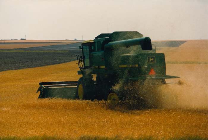 8. A combine harvester on the Eastern plains.