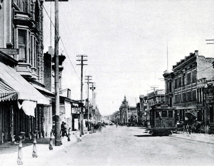 9. Santa Barbara in the early 1900s. A view of the downtown area on State Street is pictured here.