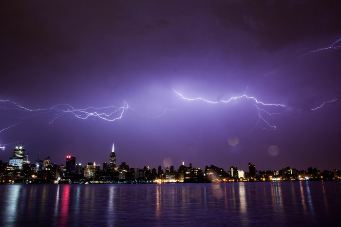 9. Intriguing or Frightening? You decide! This lightning storm over New York City is a photogenic force of nature.