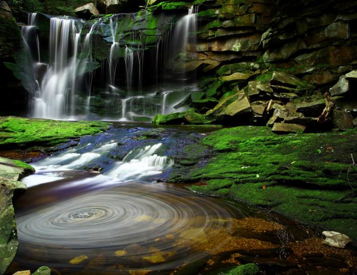 6. Elakala Waterfalls Swirling Pool Mossy Rocks