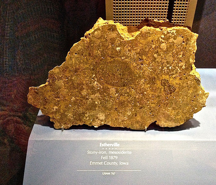 10. In May of 1879, a 455 lb. meteorite landed just five miles from Estherville, and left a 15 ft. hole in the ground. The contact shook the ground so hard that china fell off the shelves of nearby houses. Parts of the meteorite are now on display at the Smithsonian.