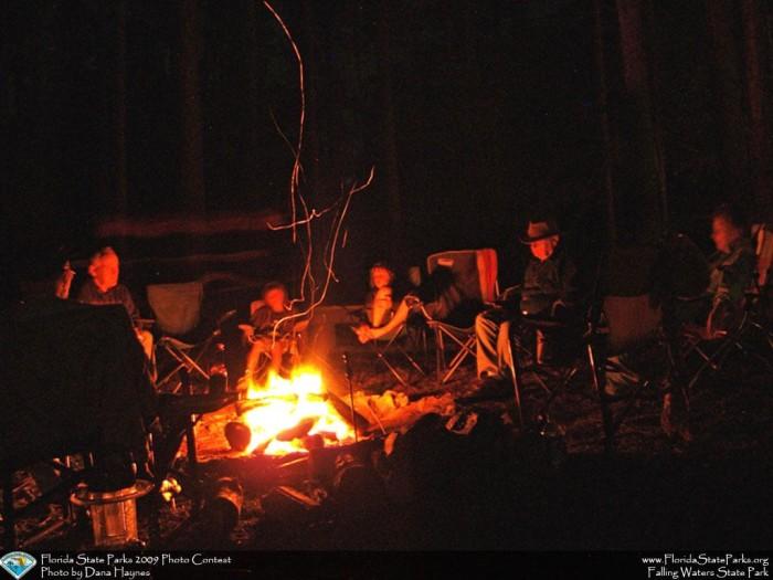 Falling-Waters_contest_Dana-Haynes_Park-volunteers-around-a-campfir