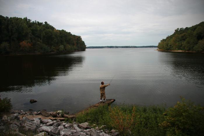 Fishing on calm waters.