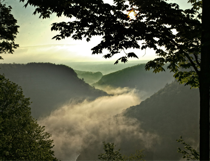 1. Morning fog rolling in over the Genesee River in Letchworth State Park.