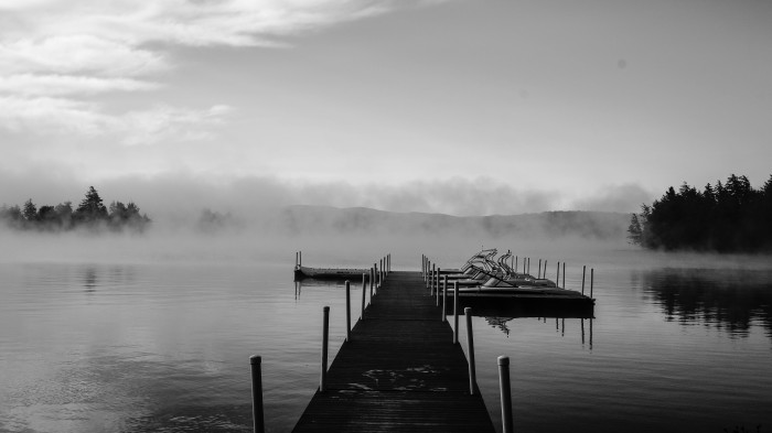 7. Would you be brave enough to walk out onto this Raquette Lake dock amongst the fog all alone?