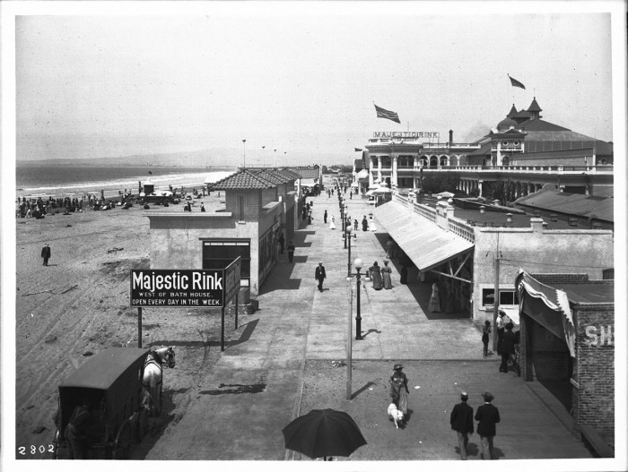 13. Long Beach Pike as photographed near the years of 1907-1915. Pictured here you can see the Majestic Rink in the background.