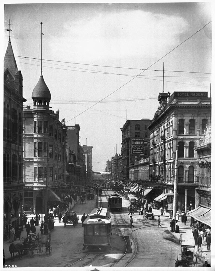 1. Downtown Los Angeles on Spring and First Street as  it looked in the early 1900s.
