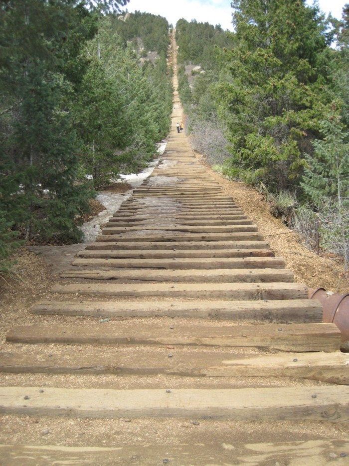 8. Climbing to the top of the Manitou Incline.