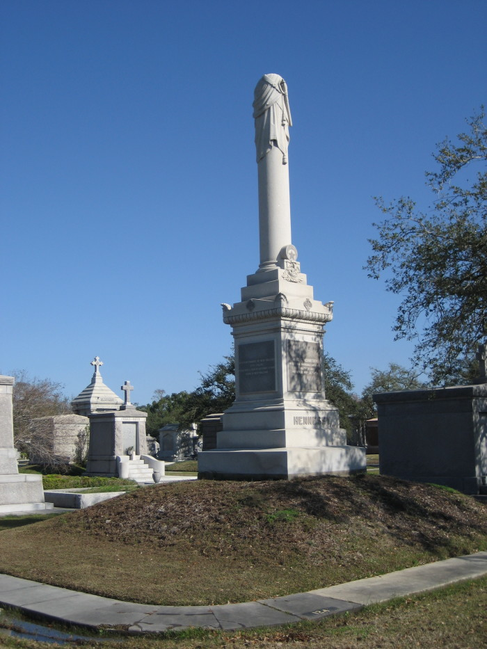 This is the tomb of David Hennessy, the famed New Orleans police chief whose assassination led to riots in the city.