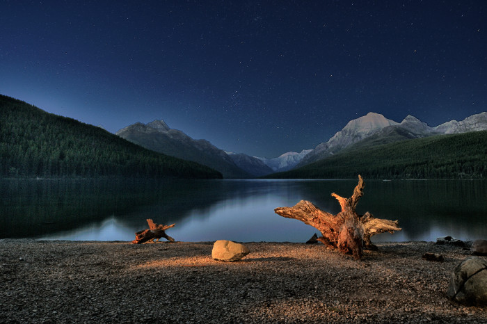 13.  Night over Bowman Lake.