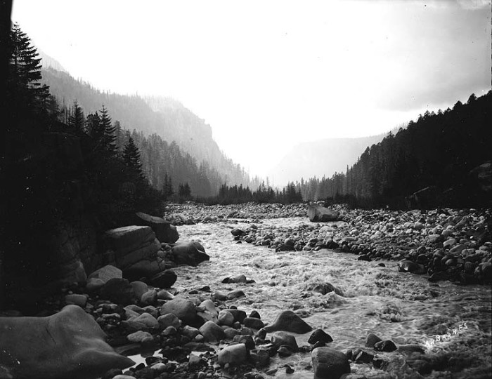 8. This view was seen looking down the glacier-fed Nisqually River in 1907.