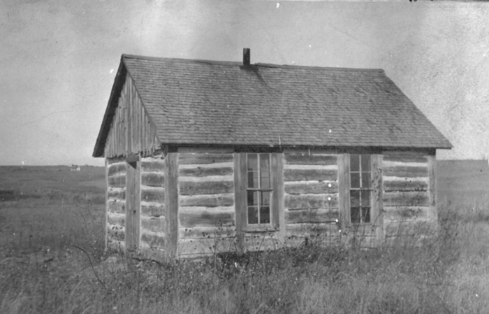 13. Cherry County - undated. A beautiful little log building with a frame roof served as the schoolhouse for District 4.