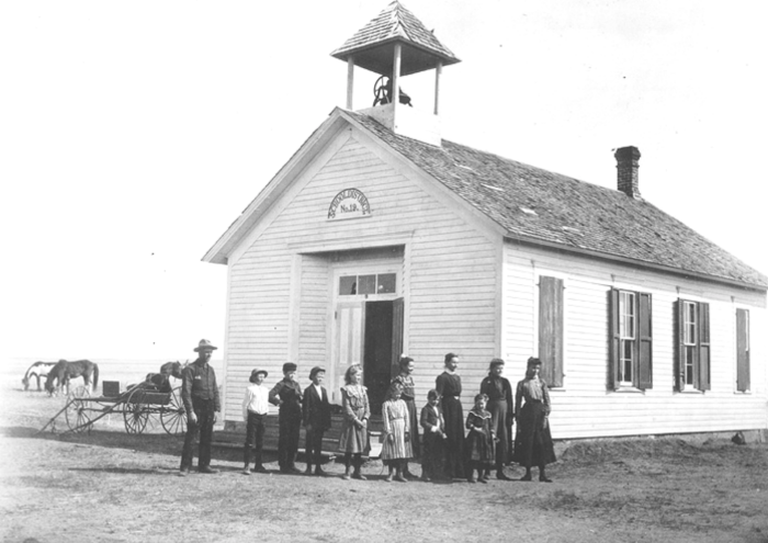 15. Near Brule - undated. This District 19 school looks a bit like a church, and the students all look quite well-behaved.