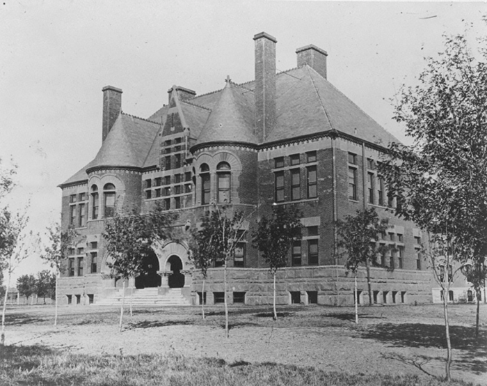 18. Kearney public school, 1872. This grand building is a huge difference from the tiny one-room schoolhouses elsewhere in the state.