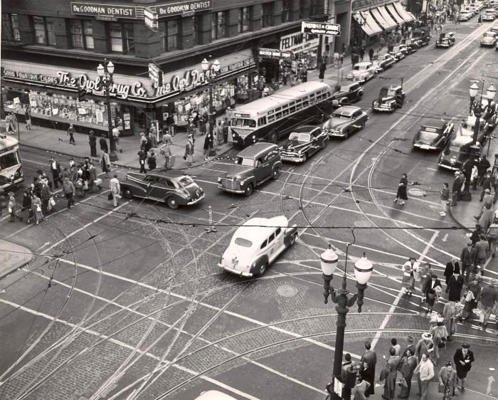 21. Downtown Portland at SW 5th Avenue & Washington street, 1949.