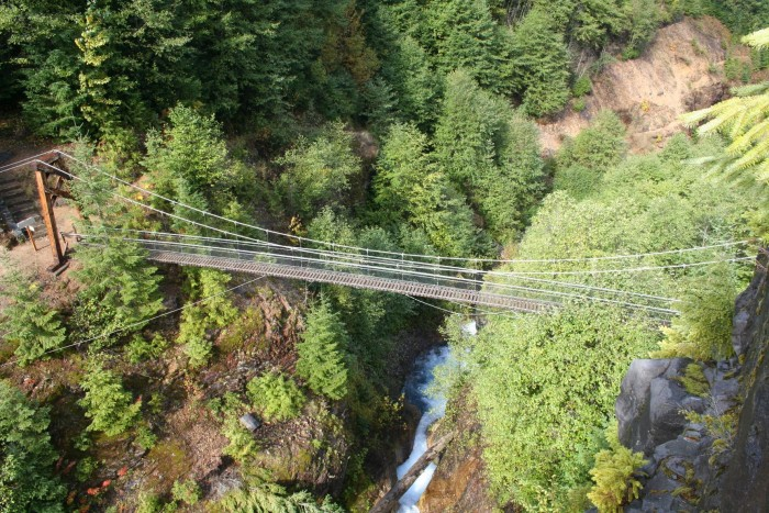 The Lava Canyon Bridge In Washington