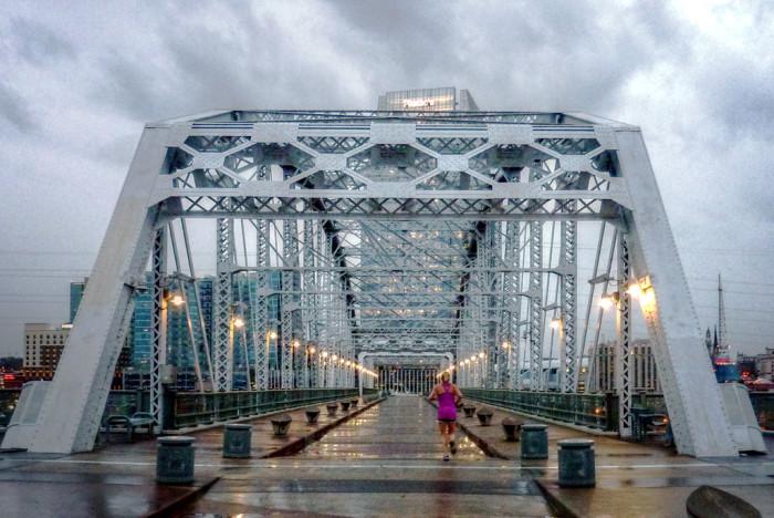 1) Walk the pedestrian bridge