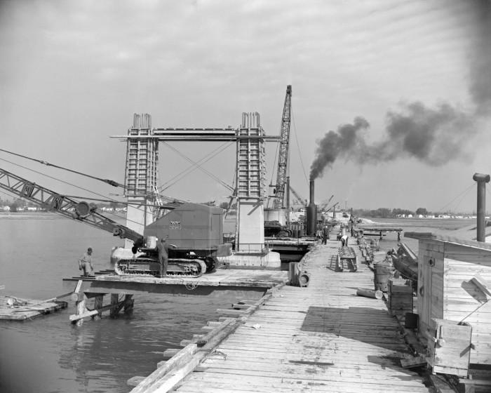 15. Charleston's Ashley River Bridge Jan 5, 1954 - still under construction.