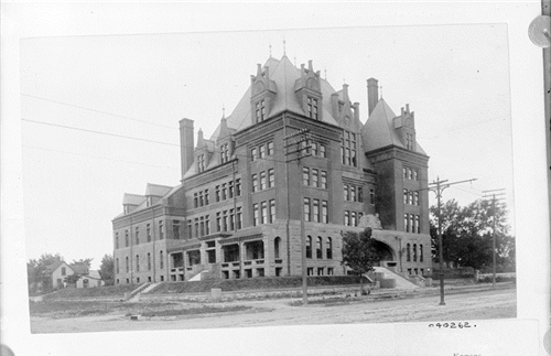 "4. ""View of the Santa Fe Hospital at Sixth and Jefferson Avenues in Topeka."""