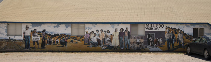 4. The mural decorating the Union Hall in Bayard was painted by students, working with local artists, to commemorate a 15 month-long mining strike that occurred during the 1950s.
