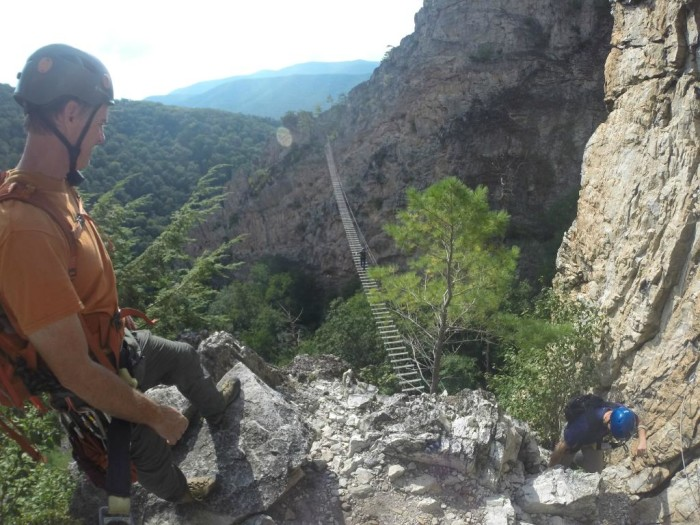 The bridge is part of the Via Ferrata climb. The entire climb is 3.5 to 5 hours and it gains 1085 in elevation. Anyone can take the climb as long as they're in good physical shape and at least 13 years old.