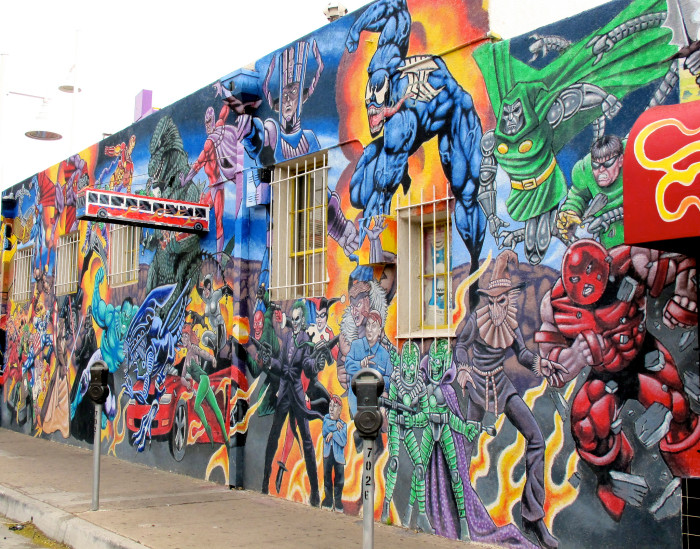 10. This bold, action-packed mural seems to burst from the walls of Astro-Zombies, a comic store in Albuquerque.