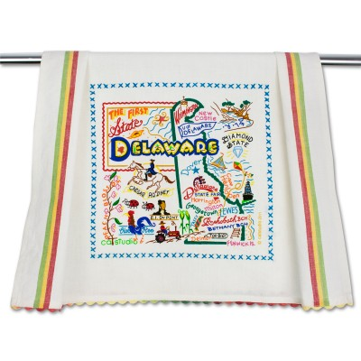 6. Delaware on a dish towel map