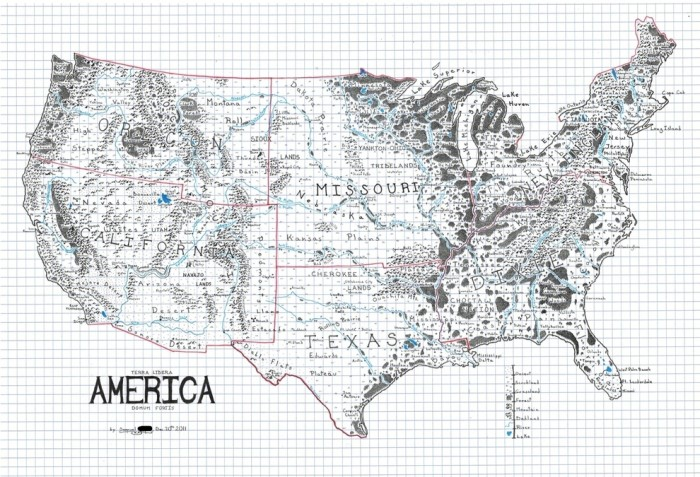 12. And finally, an awesome map of the United States drawn as if it's from a fantasy novel.