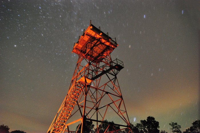 7. Stars over a fire tower.