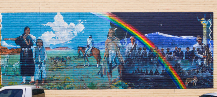 5. In 2005, the City of Gallup funded a street art project that resulted in nine murals. Navajo artist, Richard K. Yazzie, depicts his People's long walk home after they were finally released from Fort Sumner and were able to return to their land.