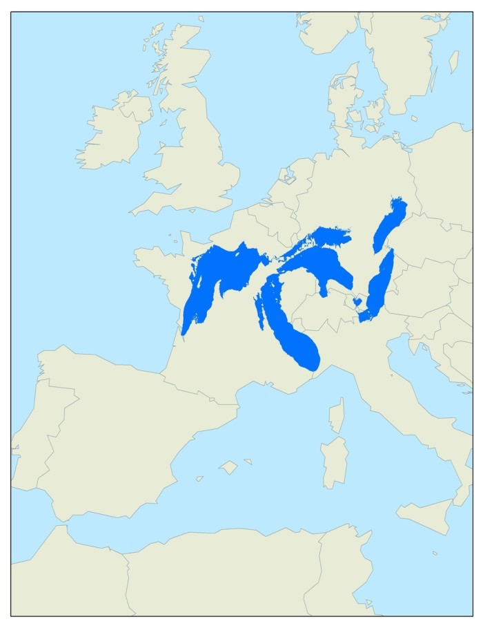 3. How much space the Great Lakes would take up if they were in Europe.