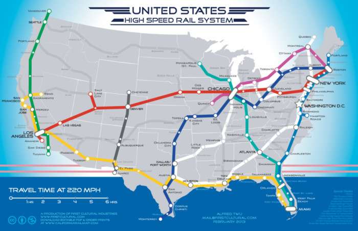 9. The never-going-to-happen USA highspeed rail system map.