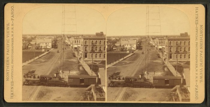3. The railroad helped build this state up to where it is today. Here, a train passes through Fargo.