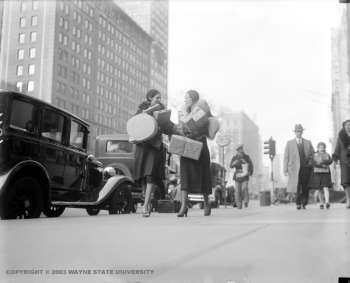 2. Women shopping during Christmas season in downtown Detroit.
