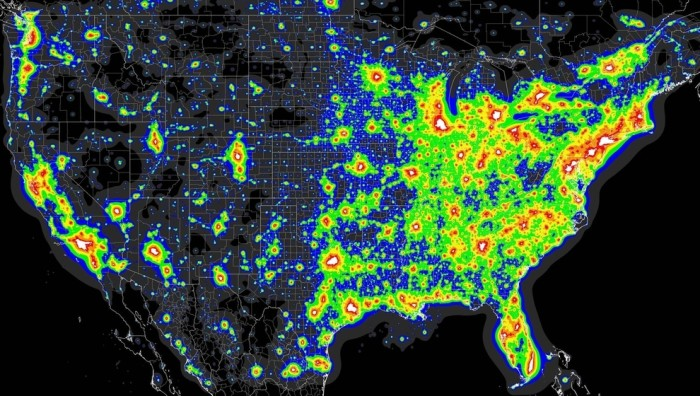 6. A map showing light pollution across the US.