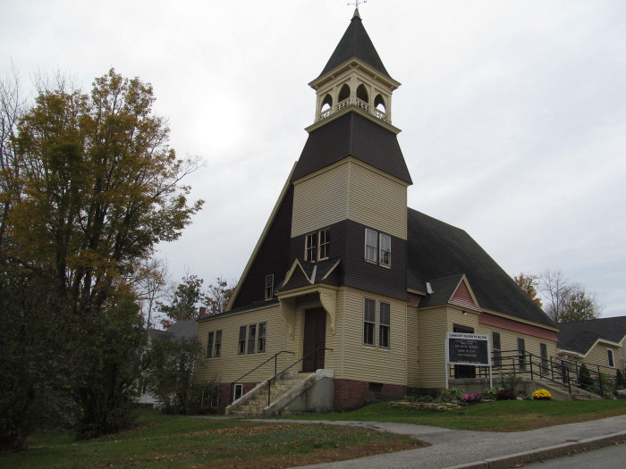 14. It's not often that you see a yellow Church like this one in Milton.