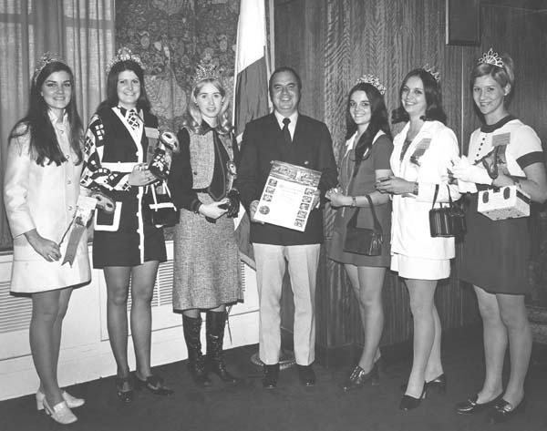 1. Chief Administrative Officer Richard Kernion presents certificates of merit to representatives of several Louisiana festivals, 1971.