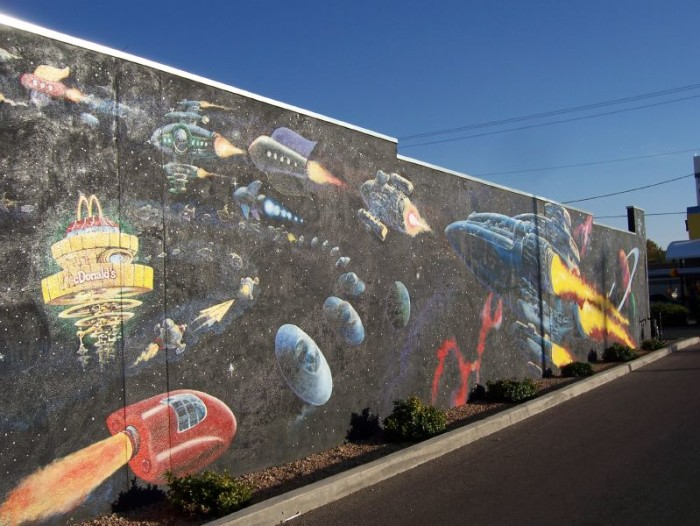 14. This mural is next to the McDonald's in Roswell. Its theme is appropriate seeing as the actual restaurant is shaped like a spaceship.