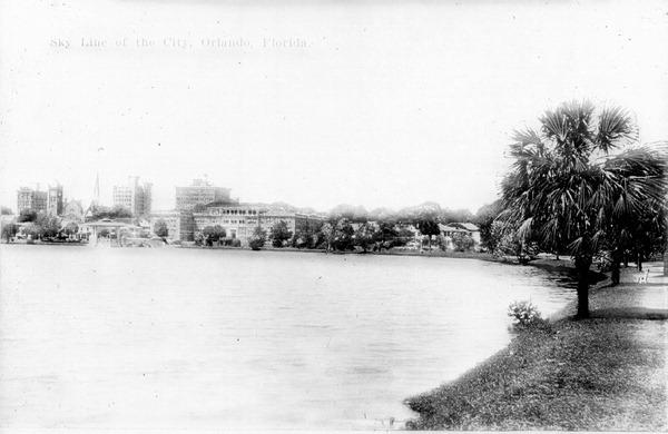 Orlando skyline across a lake