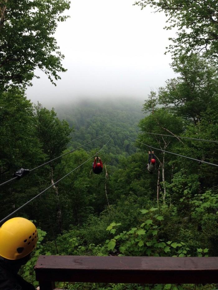 7. Ziplining through New York's greenery.