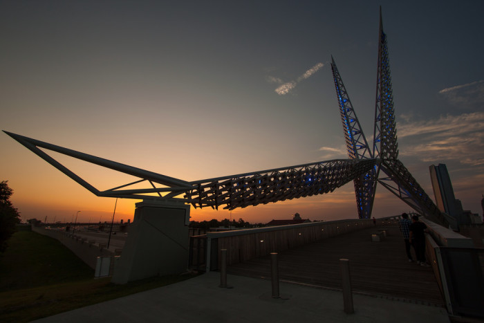 2. Walk across the SkyDance Bridge in OKC at sunset.