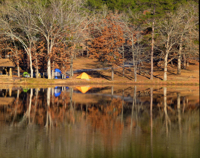 10. Pitch a tent at Robbers Cave State Park or Beavers Bend State Park.