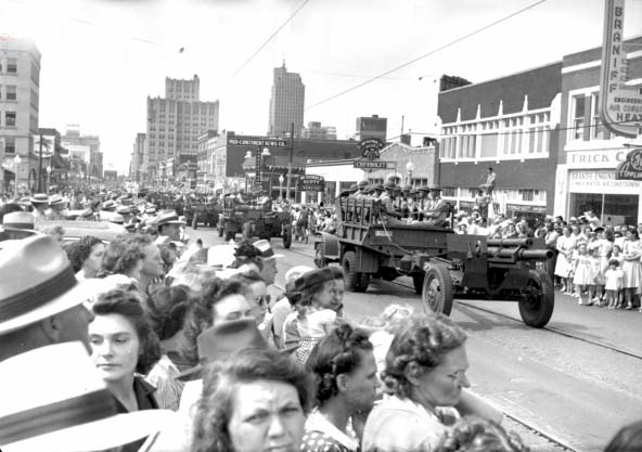 9. Oklahomans gathered together to celebrate the 4th of July at a parade in Oklahoma City, 1942.