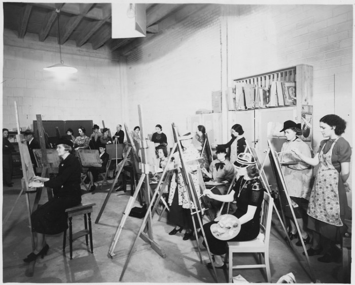 4. These women were staying busy by taking an art class at the Federal Art Center at the Municipal Auditorium in Oklahoma City, 1941.