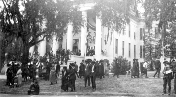 People at the Capitol waiting for the centennial celebration parade - Tallahassee