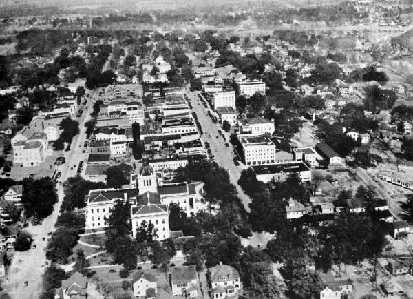 Aerial view looking north at the Capitol and business district - Tallahassee