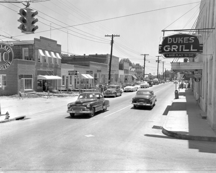 13. St George - The corner of 15 and 78 in 1953 where Duke's Grill once stood.