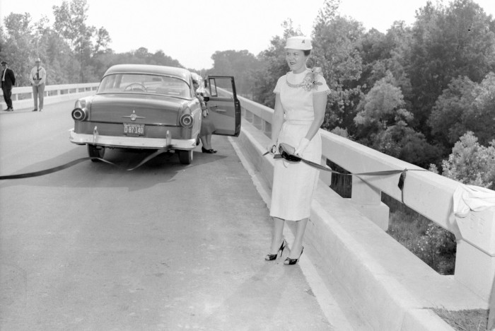 """10. Lancaster County - The 1956 ribbon cutting for the opening of the new Stewart Bridge on Hwy 9 west of Lancaster. The new bridge replaced the old wooden covered """"Allen's Bridge."""""""